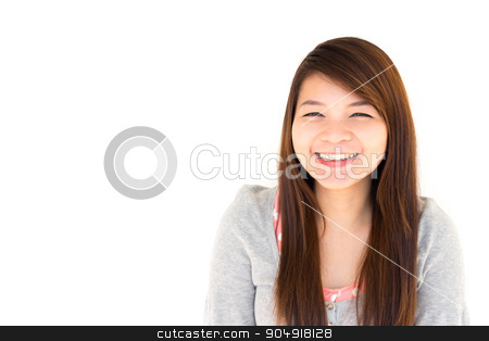 woman is smiling stock photo, round face and white skin thai hairy woman with gray coat is smiling on white background by stockdevil