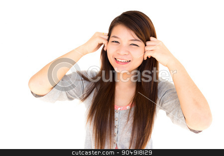 happy woman stock photo, round face thai woman is happy and hold her hair on white background by stockdevil