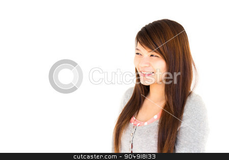 woman is looking stock photo, asian woman is looking and thinking for something on white background by stockdevil