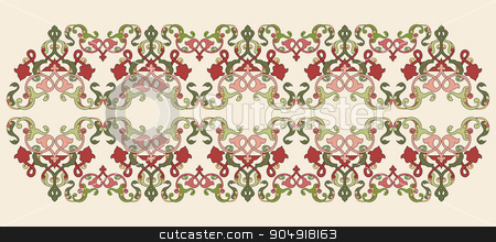 Antique Ottoman borders and frames series forty eight stock vector clipart, Borders and frames are designed with Ottoman motifs by Sevgi Dal