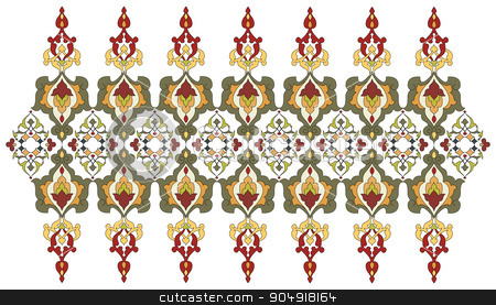 Antique Ottoman borders and frames series forty five stock vector clipart, Borders and frames are designed with Ottoman motifs by Sevgi Dal