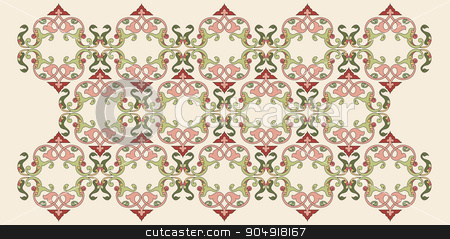 Antique Ottoman borders and frames series forty nine stock vector clipart, Borders and frames are designed with Ottoman motifs by Sevgi Dal