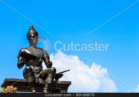 King Ramkhamhaeng stock photo, The statue of King Ramkhamhaeng at Sukhothai ,Thailand by stockdevil