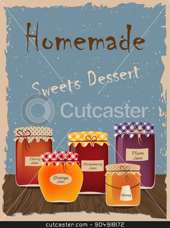 Vintage Home Made jams stock vector clipart, Vintage poster with home-made jams. Sweets Dessert by monicaodo