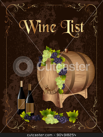 Wine list  stock vector clipart, Wine list poster with a wooden barrel and wine bottle  by monicaodo