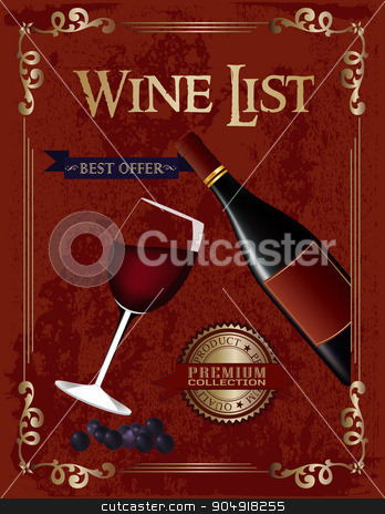 Wine list  stock vector clipart, Wine list poster with a glass of wine and wine bottle by monicaodo