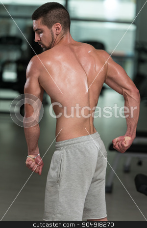 Physically Man Showing His Well Trained Back stock photo, Awesome Bodybuilder Showing His Muscles And Posing In Gym by Jasminko Ibrakovic
