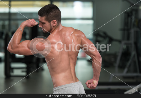 Bodybuilder Man Posing In The Gym stock photo, Awesome Bodybuilder Showing His Muscles And Posing In Gym by Jasminko Ibrakovic