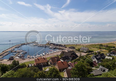 Kyrkbacken harbor on island Ven stock photo, Ven, Sweden - August 06, 2015: Photograph of the small sailing boat harbor in the village Kyrkbacken on island Ven. by Oliver Foerstner