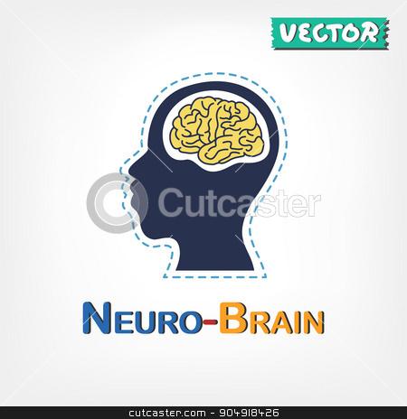 Brain ( Neurological symbol ) ( flat design ) stock vector clipart, Brain ( Neurological symbol ) ( flat design ) by stockdevil