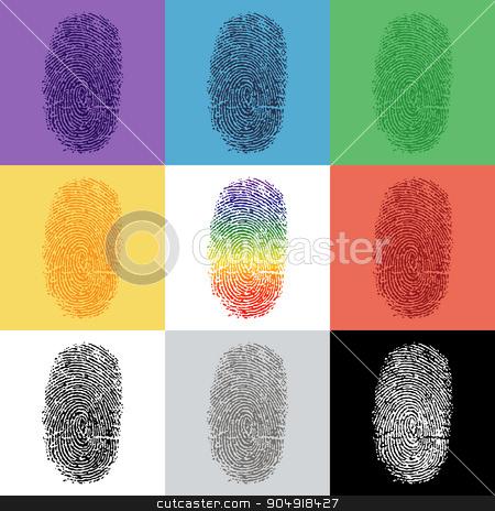 Set of colorful fingerprint stock vector clipart, Set of colorful fingerprint  by stockdevil
