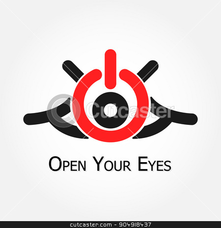 Open Your Eyes (turn on/off  symbol) stock vector clipart, Open Your Eyes (turn on/off  symbol) by stockdevil