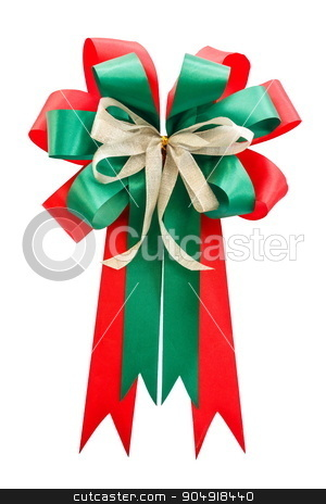 red & green color bow on white background (isolated) stock photo, red & green color bow on white background (isolated) by stockdevil