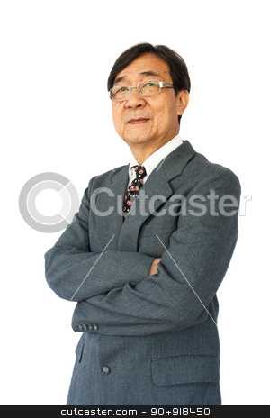 Businessman with glasses stock photo, old aged thai businessman with glasses is standing and looking on white background(isolated) by stockdevil