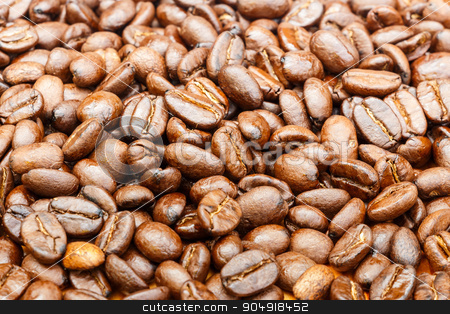 Close up of coffee beans  stock photo, a texture of group of coffee beans by stockdevil