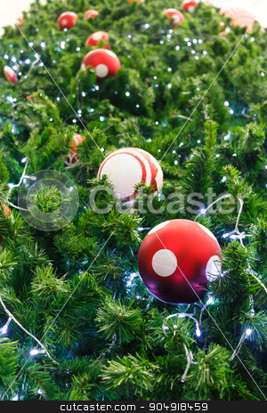 red ball and light bulb on pine tree  stock photo, red ball and light bulb were decorated on pine tree on Christmas  day in Thailand by stockdevil