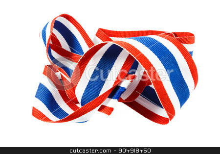ribbon with thai flag pattern stock photo, ribbon with thai flag pattern on white background(isolated) by stockdevil