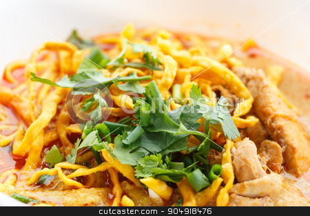 Khao Soi with chicken stock photo, Khao Soi, Northern Style Curried Noodle Soup with Chicken by stockdevil