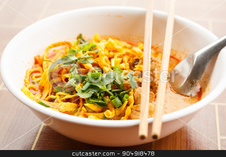Khao Soi stock photo, Khao Soi, Northern Style Curried Noodle Soup with Chicken by stockdevil
