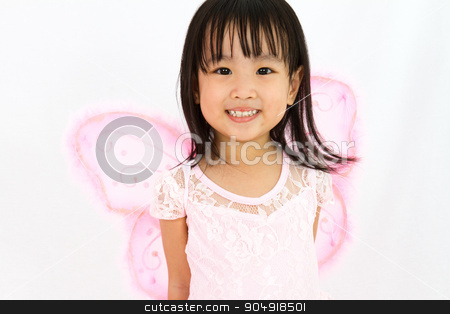 Chinese little girl wearing butterfly custome stock photo, Chinese little girl wearing butterfly custome in plain white background by Tan Kian Khoon