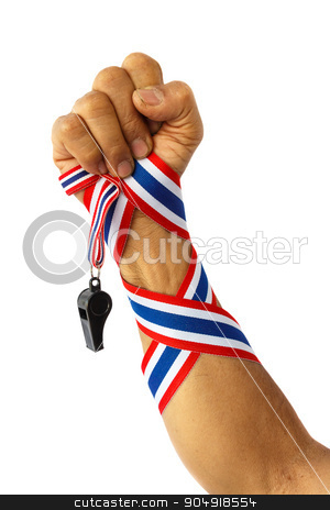 forearm of thai man with ribbon and whistle stock photo, forearm of thai man with ribbon and whistle by stockdevil