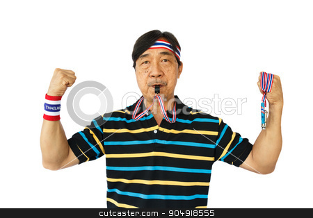 Thai man resist thai government  stock photo, Thai man resist thai government (hold whistle ,blow a whistle and wear wristband) on white background (isolated) by stockdevil