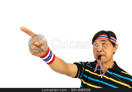 person blow whistle stock photo, asian person is pointing a finger and blowing a whistle on white background (isolated) and blank area at upper side by stockdevil