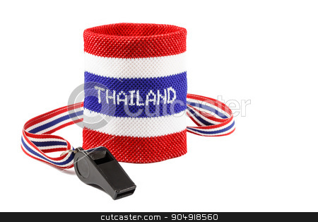 Whistle and wristband stock photo, Whistle and wristband in thai flag pattern (symbol of resistance to thai government) on white background (isolated) and blank area at right side by stockdevil