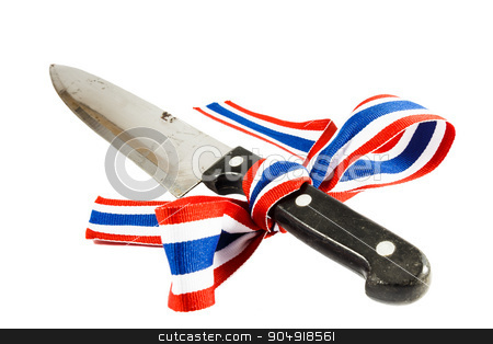 Corruption and violence in Thailand stock photo, Symbol of Corruption and violence in Thailand (Dirty knife was binded by thai flag ribbon) by stockdevil