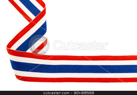 ribbon with thai flag pattern stock photo, ribbon with thai flag pattern on white background(isolated) and blank area at right side by stockdevil