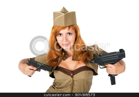 beautiful woman in military uniform with weapon stock photo, Young beautiful woman in military clothes with guns over white background by Aikon