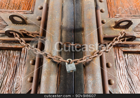 rusty chain and master key  stock photo, rusty chain and master key lock wood door by stockdevil