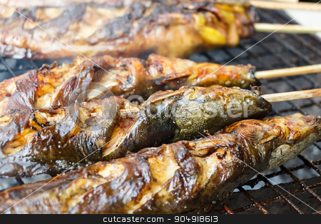 catfishs were roasted on grill stock photo, catfishs were roasted on grill (native food in Thailand) by stockdevil