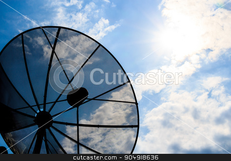 satellite dish and cloudy sky with sunbeam stock photo, satellite dish and cloudy sky with sunbeam in afternoon (Silhouette style) by stockdevil