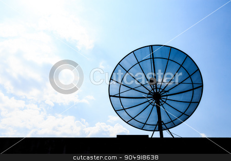 satellite dish on roof  stock photo, satellite dish on roof and blue sky in afternoon (Silhouette) by stockdevil