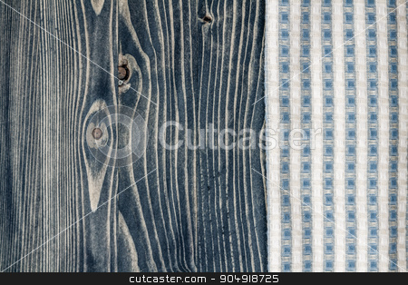 Napkin and Blue Wooden Background stock photo, Napkin and blue wooden background with copy space by OZMedia