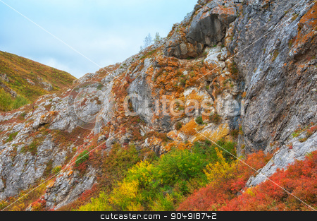 mountain colorful photo stock photo, mountains in beauty autumn day by olinchuk