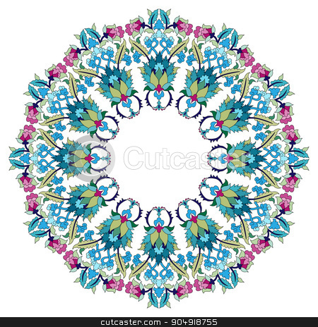 Antique ottoman turkish pattern vector design eighteen stock vector clipart, colorful antique ottoman turkish design pattern vector by Sevgi Dal