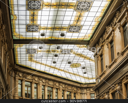 Decorated glass ceiling stock photo, the decorated glass ceiling of Galleria Alberto Sordi in Rome finished building in 1922 by rarrarorro