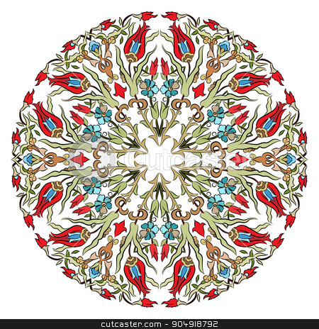 Antique ottoman turkish pattern vector design nine stock vector clipart, colorful antique ottoman turkish design pattern vector by Sevgi Dal