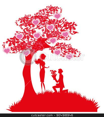 proposal wedding - couple silhouette  stock vector clipart, proposal wedding - couple silhouette  by Jacky Brown