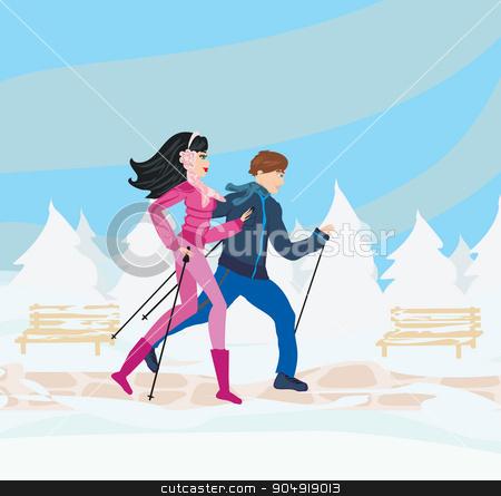 Nordic walking in winter stock vector clipart, Nordic walking in winter by Jacky Brown
