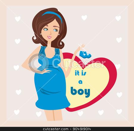 It's A boy! - pregnant woman card stock vector clipart, It's A boy! - pregnant woman card by Jacky Brown