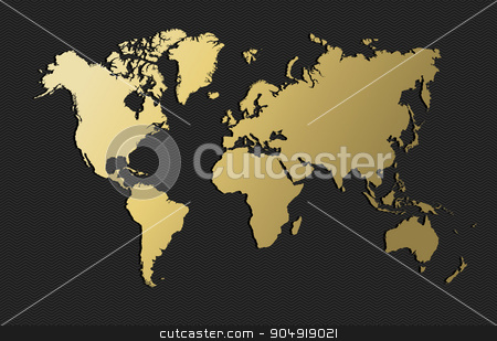 World map gold earth blank empty globe stock vector clipart, Empty world map silhouette in gold color, concept illustration. EPS10 vector. by Cienpies Design