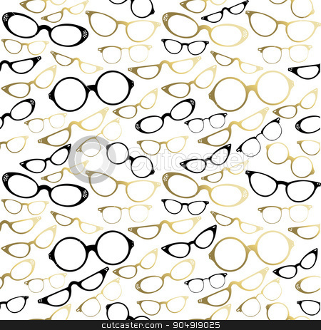 Vintage hipster glasses seamless pattern gold stock vector clipart, Vintage hipster glass icon set seamless pattern. EPS10 vector. by Cienpies Design