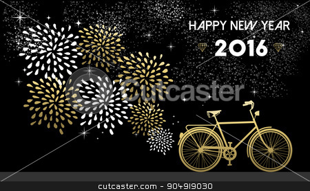 New Year 2016 bike gold firework night star stock vector clipart, Happy New Year 2016, gold greeting card design with bike silhouette and fireworks in night sky background. EPS10 vector. by Cienpies Design