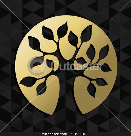 Life tree concept gold badge icon symbol  stock vector clipart, Gold life tree badge icon illustration, concept design. EPS10 vector. by Cienpies Design