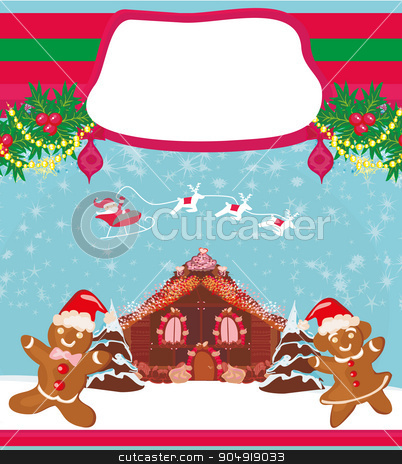 christmas card with a ginger-bread and Santa Claus flying over c stock vector clipart, christmas card with a ginger-bread and Santa Claus flying over city  by Jacky Brown