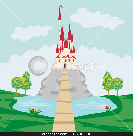 landscape with old castle on the rock stock vector clipart, landscape with old castle on the rock by Jacky Brown