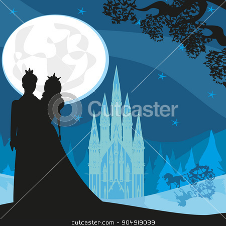 castle and princess with prince stock vector clipart, castle and princess with prince by Jacky Brown